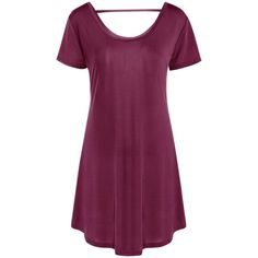 Casual Hollow Out Short Sleeve Scoop Neck Women s Dress ($12) ❤ liked on Polyvore featuring dresses, scoop-neck dresses, purple dress, scoop neck dress, short-sleeve dresses and scoop neckline dress