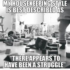 """My housekeeping style is best described as """" There appears to have been a struggle"""""""