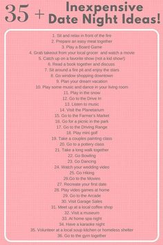 Inexpensive Date Night Ideas--stuck in a rut? Check out this list of Date Night Idea! Need some date night inspiration? Check out this printable list of Inexpensive Date Night ideas and plan a date nigh. Marriage Tips, Love And Marriage, Relationship Tips, Marriage Romance, Relationships, Bed Romance, True Romance, Romance Movies, Relationship Bucket List