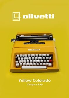 YELLOW OLIVETTI LETTERA 35 - Vintage Portable Manual typewriter