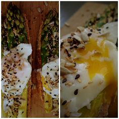 Asparagus bruschetta with poached egg and seeds @ mytinygreenkitchen.com