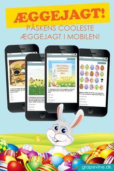"""Mobilskattejagt: Æggejagt 8-10 år Påskens cooleste æggejagt! Lad børnene finde positioner på et kort i mobilen, løse gåder for at """"finde"""" æg og til sidst nå fre... #Æggejagt #gps-skattejagt #grapevine Easter Arts And Crafts, Crafts For Kids, Kids Boat, Jüngstes Kind, Grape Vines, Cartoon, School, Cards, Wedding Illustration"""