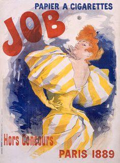 1895 Job Papier a Cigarettes Ad by Jules Cheret Fine Art Print