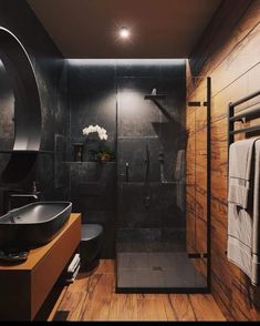 57 Modern bathroom that everyone should try this year - furnishings . - 57 Modern bathroom that everyone should try this year – Interior experts – Home interior design - Loft Bathroom, Dream Bathrooms, Small Bathroom, Master Bathroom, Wooden Bathroom, Coolest Bathrooms, Industrial Bathroom, Bathroom Faucets, Rain Shower Bathroom