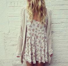 long knit cardigan over summer dress