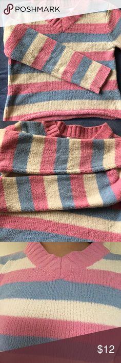 Pastel candy stripe knit sweater Super cute pastel candy striped knit sweater. Buttery soft and cozy. Best fits a small or a looser xs. Color truest to third pic. Send me offers!  turtleneck sweatshirt light blue pink cream white stripes Sweaters