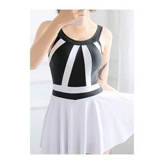 Rotita White and Black Patchwork Open Back Swimdress ($28) ❤ liked on Polyvore featuring swimwear, one-piece swimsuits, white, black and white bathing suits, open back one piece swimsuit, swimdress swimsuit, white swimwear and padded swimsuits