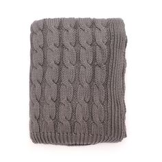 Grey Large Cable Knit Throw | Great site for designer bedding | www.craneandcanopy.com