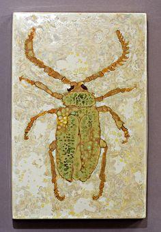 Coleoptera by Samantha Henneke - Beetle ; porcelain glaze painting, mulitple crystalline glazes brushed on.