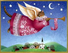 Angel Cat over Town  ~*~ Stephanie Stouffer