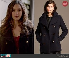 Elena's navy coat with gold buttons on The Vampire Diaries.  Outfit Details: http://wornontv.net/45639/ #TheVampireDiaries