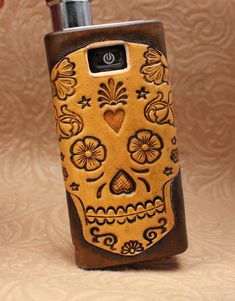 Sugar Skull Custom iTaste MVP Distressed Leather Vaping Sleeve/Case/Wrap/Skin on Etsy, $35.00