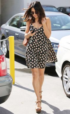 Vanessa Hudgens keeps it super cute in a springtime floral sundress! #style