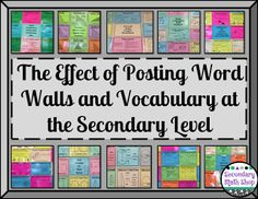 The Spectacular World Of Secondary Math: The Effect of Posting Word Walls and Vocabulary at the Secondary Level Vocabulary Word Walls, Math Vocabulary, Maths, Vocabulary Strategies, Vocabulary Instruction, Math Resources, Middle School Classroom, Science Classroom, Classroom Ideas