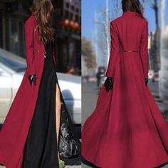 Women Long Sleeve Maxi Dress Coat Floor Length Jacket Plus Size Long Trench Coat Long Sleeve Maxi, Maxi Dress With Sleeves, Capes For Women, Clothes For Women, Long Jackets For Women, Dress Coats For Women, Dress Outfits, Fashion Dresses, Stylish Clothes