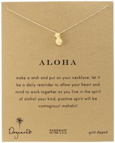 """Amazon.com: Dogeared Reminder """"Aloha"""" Gold-Plated Silver Pineapple Pendant Necklace: Jewelry"""