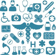 rn stethoscope Silhouette   Blue icons on white with healthcare symbols