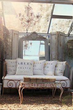 love everything! daybed, shutters, mirror  #atelierdecampagne
