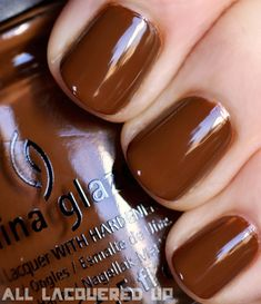 China Glaze Capitol Colours – The #Hunger Games #Nail Polish Collection Swatches-Mahogany Magic- District 7- Lumber #Brown