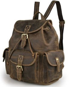 Vintage Multi-Pocket #Leather #Rucksack Knapsack #Serbags