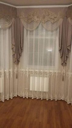 DIY Network shares ideas and instructions for creating and upgrading curtains, shades, . A new season is the perfect time to dress up your windows with clever Home Curtains, Curtains With Blinds, Window Drapes, Valances, Curtain Styles, Curtain Designs, Rideaux Design, Elegant Curtains, Living Room Flooring
