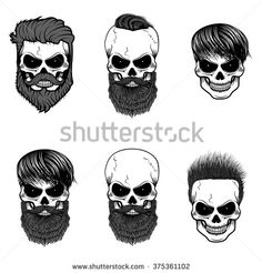Stock Images similar to ID 366269507 - bearded skull illustration