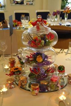 Centerpiece - Vintage Candy Jars filled with Fresh Flowers