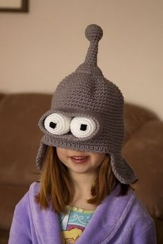 Bender Futurama crochet hat