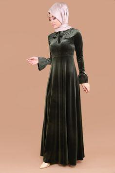 ** SONBAHAR / KIŞ ** Fularlı Kadife Elbise Haki Ürün Kodu: MM2036 --> 129.90 TL