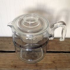 Pyrex 6 - 9 Cup Flameware Large Complete Stove top Coffee Pot Vintage