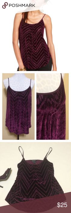 Lucky Brand Velour Cami / Tank Beautiful, perfect condition velour cami by Lucky Brand. True to size large. Color is Royal Purple. Has a slight burnout effect in a chevron pattern. Pullover styling with no zipper or closures needed. Adjustable spaghetti straps. Perfect for late summer and fall layering. Lucky Brand Tops Tank Tops