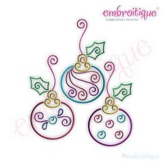 Embroidery Designs (All) - Twirly Ornament Trio Embroidery Design - Small on sale now at Embroitique!