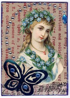 #ATC #antique #woman (created with antique chromograph scrap, plain stamped cardboard, and other embellishments)