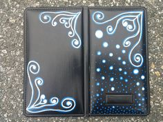 Check out this item in my Etsy shop https://www.etsy.com/listing/237177476/hand-painted-server-book-waiter-wallet