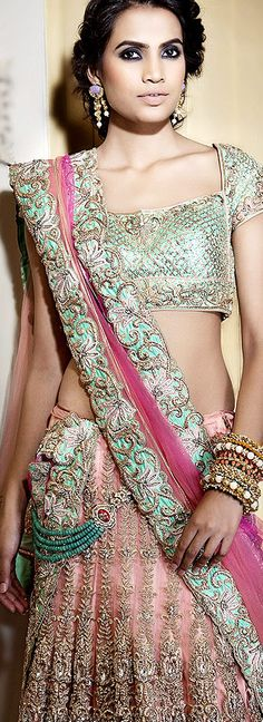 pastel lengha saree. Indian clothes. Indian wedding lehenga
