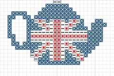 Craft with Ruth Cartwright: Free Union Jack tea pot cross stitch pattern