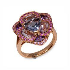Πολύ εντυπωσιακό πολύτιμο δαχτυλίδι από ροζ χρυσό 18 καρατίων με ιολίτη, αμέθυστους & ροζ ζαφείρια   Δαχτυλίδια με ορυκτές πέτρες ΤΣΑΛΔΑΡΗΣ Χαλάνδρι #αμέθυστος #ζαφείρια #δαχτυλίδι #rings #jewelry Heart Ring, Sapphire, Rings, Jewelry, Jewlery, Jewerly, Ring, Schmuck, Heart Rings