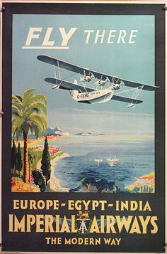 A short Calcutta Flying Boat about to land amid an exotic harbor. This is among the earliest Imperial Airways posters to survive