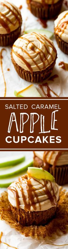 Moist & flavorful apple spice cupcakes with salted caramel frosting on top!! Recipe http://sallysbakingaddiction.com/2012/09/16/apple-spice-cupcakes-with-salted-caramel-frosting/