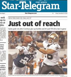 Front Page of the Fort Worth Star-Telegram on Nov. 26, 2010