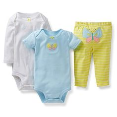 Carters Girls 3 Piece Bodysuit and Pant Set Newborn Butterfly