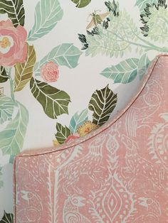 Anthropologie wallpaper, Peggy Angus Collection fabric on bedhead by Melinda Hartwright Interiors
