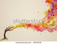 watercolor background with autumnal tree. strong wind blows the leaves. - stock photo
