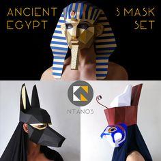 ANCIENT EGYPT Mask Set Pharaoh Anubis and Horus egyptian