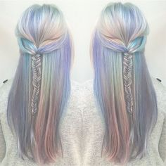 The perfect opal mermaid hair colorful hair holographic hair pastel hair Cabello Opal, Opal Hair, Coloured Hair, Dye My Hair, Mermaid Hair, Mermaid Makeup, Crazy Hair, Gorgeous Hair, Pretty Hairstyles