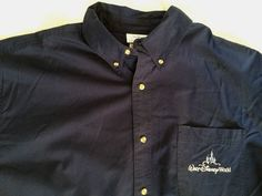 Mens Walt Disney World Orlando Shirt Sz XL Blue Button-Down Short Sleeves   eBay