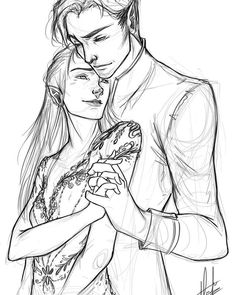 Sketch of Rhys and Feyre because I'm a  soppy piece of shit and cannot WAIT until the book!! #acomaf #acourtofmistandfury #rhys #feyreandrhysand #feyre #illustration #sketch #doodle #artoninstagram #fantasy #photoshop #wacom #digital #artist
