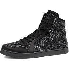 Gucci High-Top Sneaker with Crystal Studs (16 180 ZAR) ❤ liked on Polyvore featuring shoes, sneakers, black, black sneakers, black high tops, high top shoes, leather high tops and black shoes