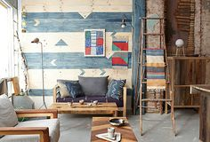 love the textiles & the back wall Color pallet and vibe but with more modern furnitureand patterned rug