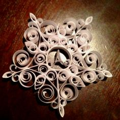 Monogrammed quilled snowflake ornament